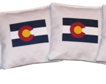 Colorado Flag White Cornhole Bean Bags Money Back Guarantee