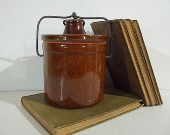 Vintage Brown Stoneware Jar