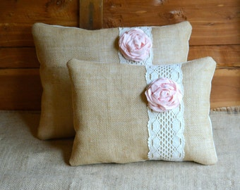 Burlap Pillow SET Pink Shabby Chic Rustic Pillows Farmhouse Toss And Lace Bedding Accent