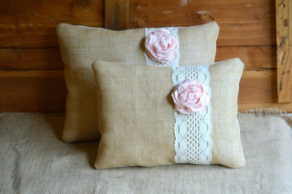 Burlap pillow set pink shabby chic rustic pillows farmhouse for Burlap and lace bedroom