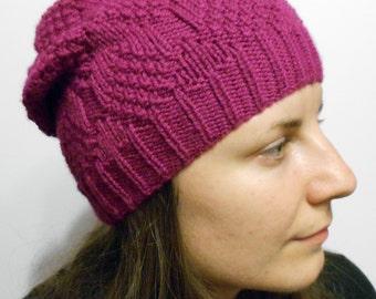 Women's knitted hat - slouchy beanie hat - dark pink hat - warm knit hat - wool knitted hat