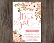 Shabby Style Pink Roses Baby Shower Invite, Watercolor Flowers Baby Shower Invitation, Baby Girl Shower Invitation, It's a Girl