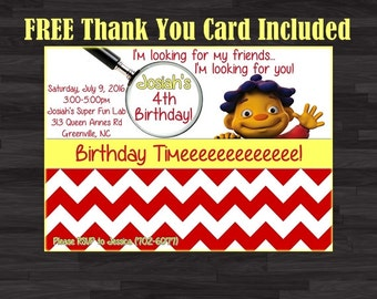 Sid the Science Kid Invitation, Photo Invitation, Sid Birthday Party Invitation, Kids Invitation,FREE Thank You Card