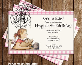Charlott'e Web Some Girl Birthday Party Invitation Printable