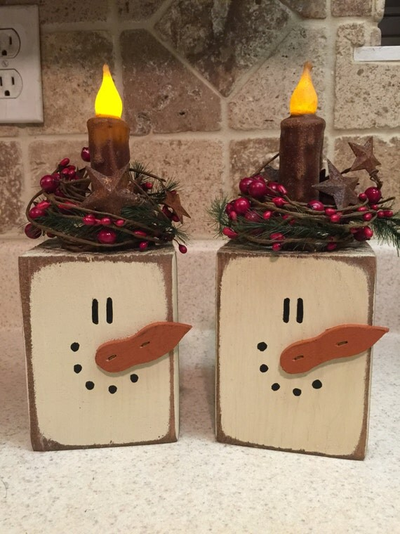 Snowman primitive block candle for Christmas crafts using wood