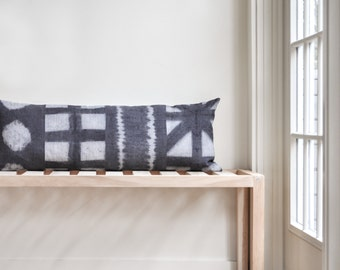 Shibori long bolster pillow cover — 14x36 gray, naturally dyed, geometric linen pillow cover
