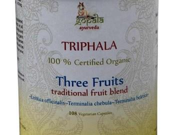 Organic Triphala Capsules - 108 Vcaps (USDA Certified Organic) - Gopala Ayurveda