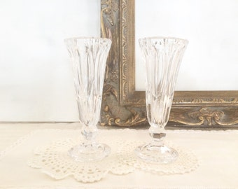 Pair of Vintage Crystal Bud Vases