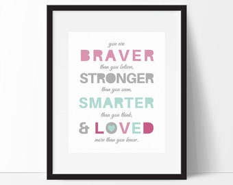 You are Braver than you Believe, Winnie the Pooh, Quote Wall Art, Girls Nursery Nursery Decor, Winnie the Pooh Quote Print, Instant Download