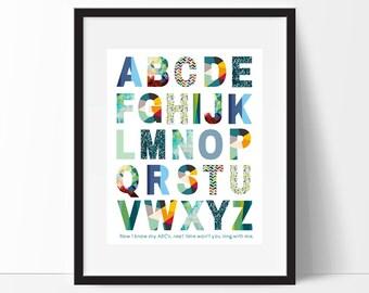 Alphabet Print, Alphabet Printable, Boys Nursery, Modern Nursery, Alphabet Poster, Nursery Decor, Nursery Wall Art, Instant Download