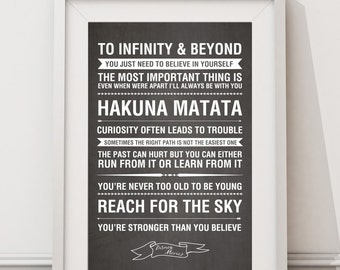 Disney Quotes - HIGH QUALITY PRINT -  Choose Your Size - Wall Art - Poster Print - Modern Design