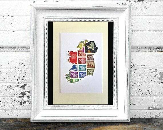 Ireland map art postage stamp art irish gift irish decor for Home decor northern ireland