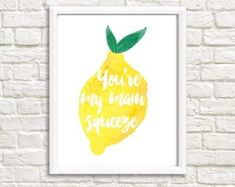 Main Squeeze, Printable Artwork, Digital Prints, Wall Art, Instant Download, Digital Download, Art