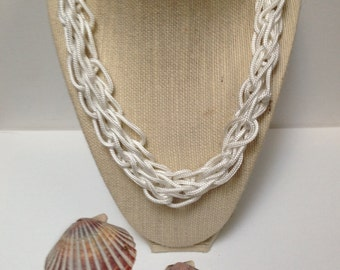 White lotus - handmade finger crocheted paracord necklace