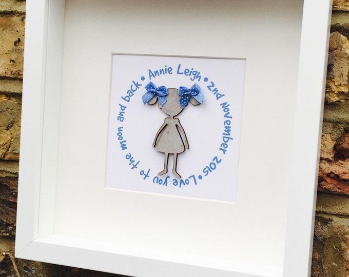 Personalised Boy or Girl 3D Box Frames, kid's print's, christening gift, Childrens gift, nursery wall art, baby shower, birthday gift