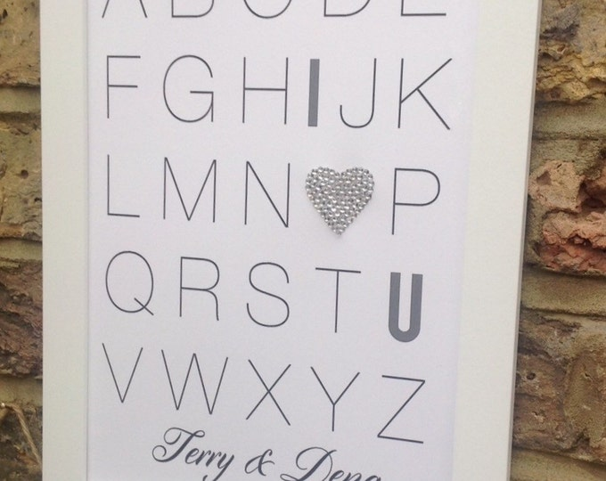 Alphabet Personalised custom print, I Love you, Crystal, Sparkle, Wedding, Birthday, Valnentine, available in any colour.