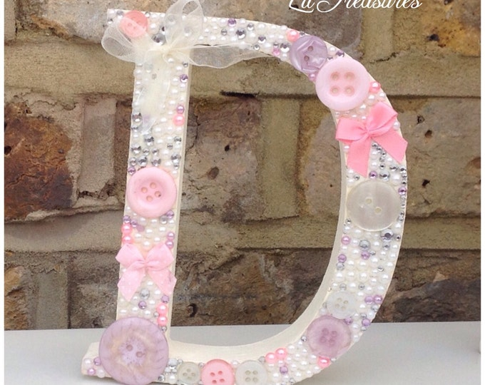 Letters | Free standing letter | Decorative embellished letters, Numbers any colours. Buttons, Pearls, crystal.