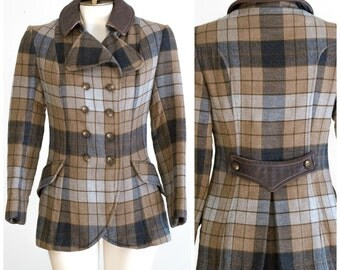 Tailored brown and gray plaid riding jacket style coat with leather collar
