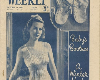Vintage Woman's Weekly October 13 1945 Knitting Short Stories Recipes