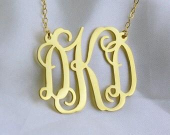 Gold Monogram Necklace,Custom Initials Necklace,Custom Monogrammed Necklace,Personalized Monogram Necklace,Bridesmaids Gift