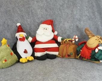 Santa Puppet Holiday Display With Santa, Rudolph, And Penguin
