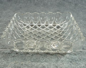"""Vintage Thick Glass 8"""" Square Serving Dish With Basket Weave Design"""