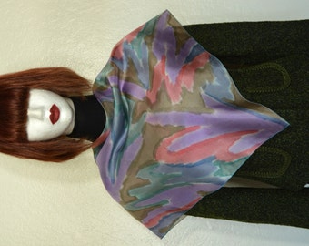 pastel colors hand made silk scarf