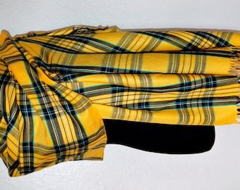 Plaid shawl, yellow plaid shawl, wrap