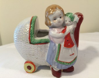 Made in japan little girl with baby buggy and doll planter - 1960's kitsch - baby buggy figurine - girl with dolly ceramic knick knack