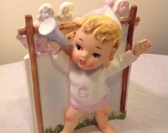 Relpo vintage baby planter - 1960's kitsch - relpo Japan - cheerleader