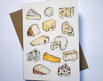 Watercolour cheeses blank card