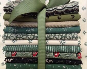 Shades of green fat quarter bundle