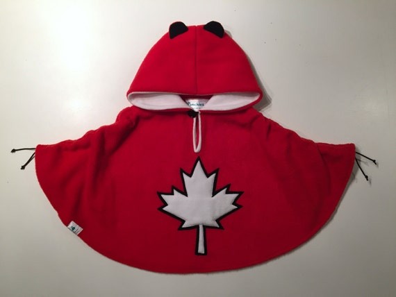 Baby & Kid Canadian Maple Leaf Fleece Poncho - Red