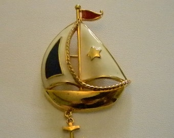 AVON Gold Tone Red White Blue Sailboat with Anchor Pin Brooch