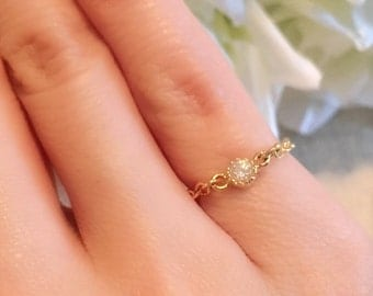 Rhinestone chain ring, Simple gold filled chain ring, gift for her, everyday jewelry, minimalist, friends gift