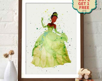 Disney Movie Poster - The Princess and the Frog - Princess Tiana Watercolor Poster