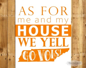 Tennessee Football Wall Art - Go Vols- 8x10 - 16x20 - Vols - Home Decor - Volunteers - Sign - Orange - White