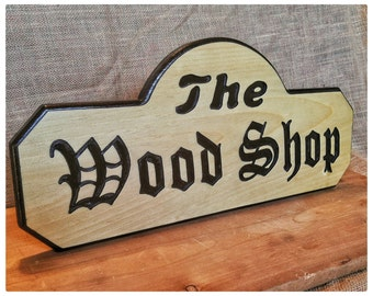 Routed Wood Signs, Inset Letters, Carved Wood Signs, Outdoor Shop Sign, Custom Outdoor Signs,  Rustic Wood Signs, Wood Shop Signs, Wall Art