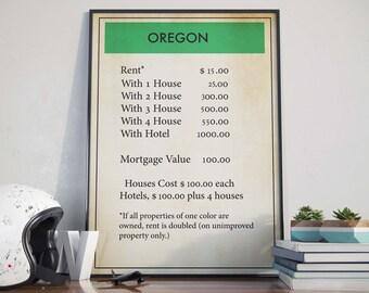 Oregon Wall Print| Monopoly| Monopoly Poster| Board Game Poster| Board Game Wall Art| Oregon Art Poster| Monopoly Decor| Monopoly Art