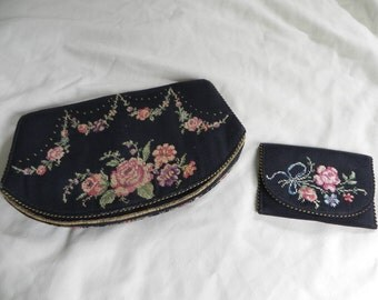Vintage 1910's ? Black Silk ? Clutch Purse with Petite Point Flowers and Matching Coin Purse