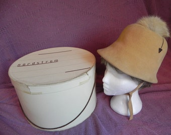 1960's Vintage Adolfo II Camel Color Wool Felt Italian Cloche Hat with Original Nordstrom Hat Box