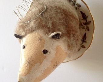 Little prince, hedgehog on bone china saucer.