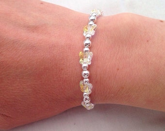 Crystal butterfly bracelet, Sterling silver bracelet with crystal AB butterflies, girlfriend gift, sparkly butterfly jewelry, wedding ideas