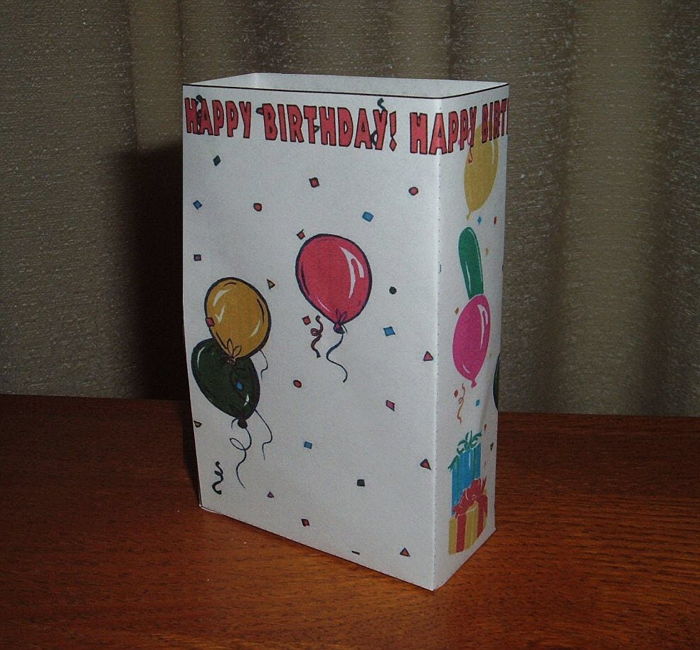 Birthday Gift Bag Printable DIY Template Free By CyberNation