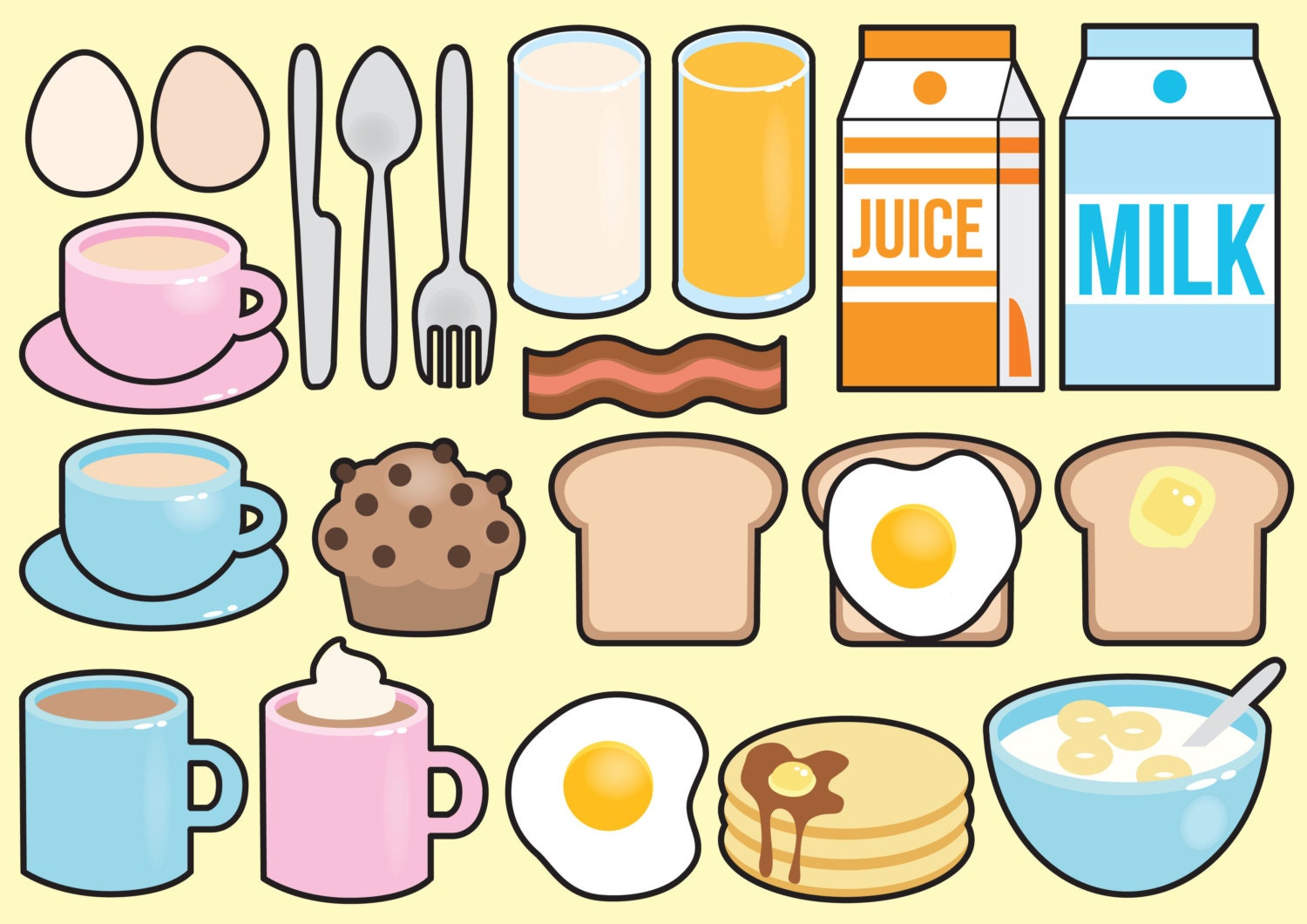 Print Your Own Wall Stickers Premium Vector Clipart Kawaii Breakfast Clipart Kawaii