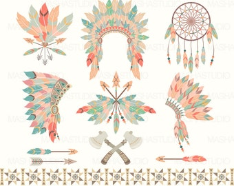 """Tribal clipart: """"TRIBAL CLIPART II"""" with feather headdress clipart, feather clip art, dream catcher clipart, 12 images, 300 dpi. Png files"""