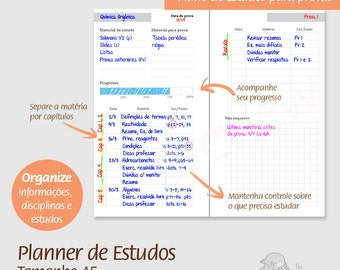 A5 - PT - Planner de Estudos - PDF, printable