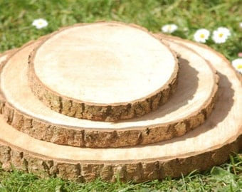 Wood Slices 12-13cm x 2cm : Organic with bark ~ No Artificial color