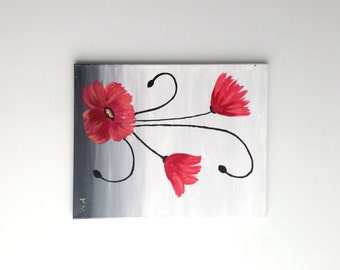 Red Flower Painting, Red Flowers Art, Flower Painting, Nature Painting, Garden Painting, Poppy Painting, Poppies, Wall Art, Abstract Art