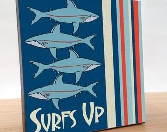 Shark art block for kids room and baby boy nursery. Shark decor for home or office. Shark nursery art. Decor for boys room or nursery. Shark